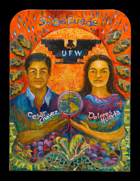 Dolores Huerta and Cesar Chavez ex voto retablo UFW United Farmworkers