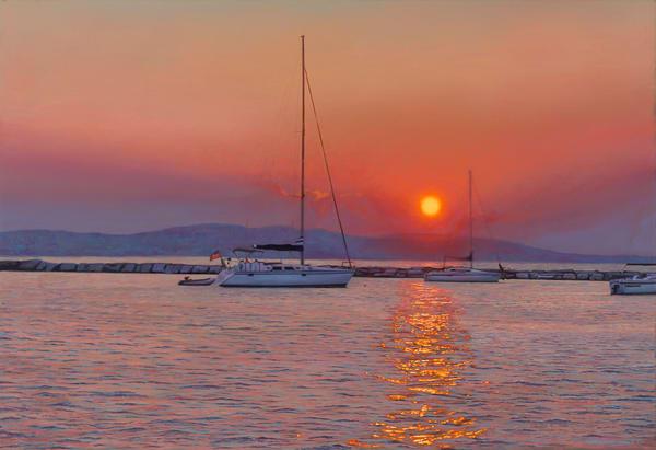 Breakwater Sunset Art | The Huntington Studio