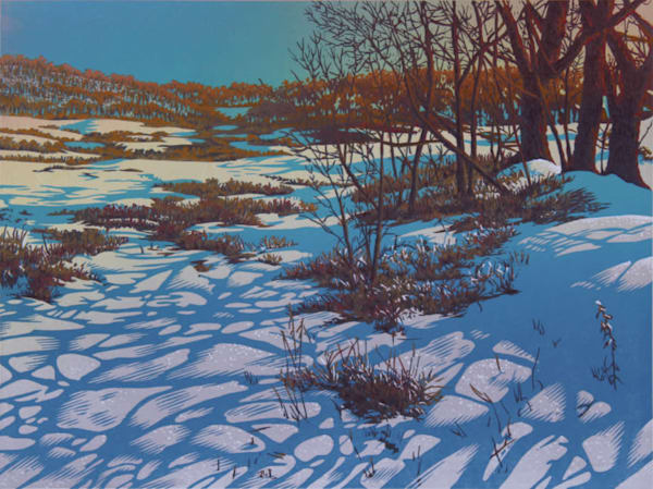 Short Days, Long Shadows linocut print by William H. Hays