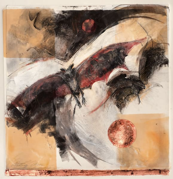 night hunt with night birds,  bats, mouse monotype by cristina acosta