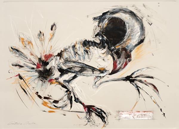Native american spirit bird dancer monotype