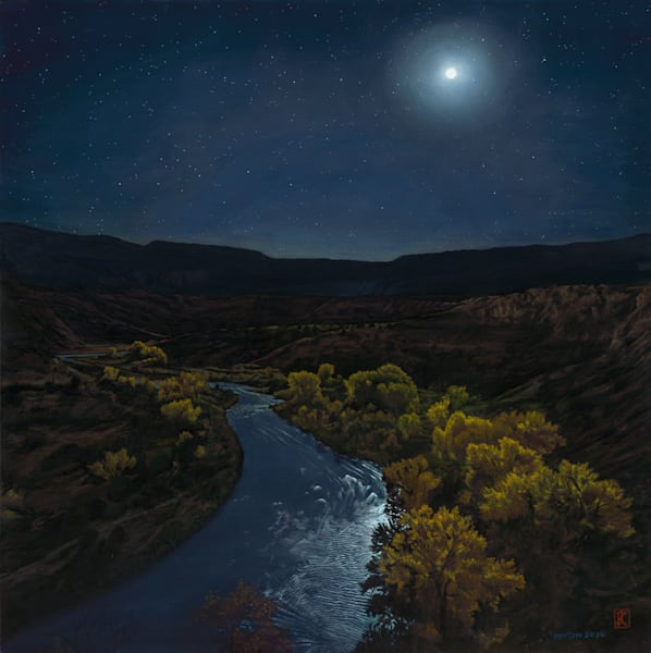 nocturne, moonrise, nightscape, landscape painting, chama river, new mexico, contemporary realism, oil painting
