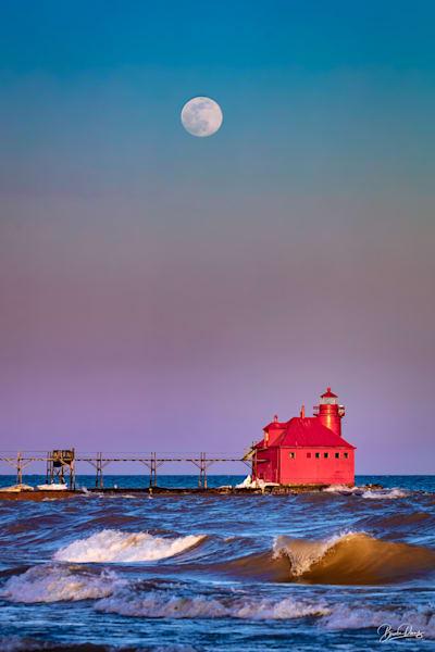 Super Moon Over Sturgeon Bay Ship Canal Pierhead Lighthouse Photography Art | brucedanz
