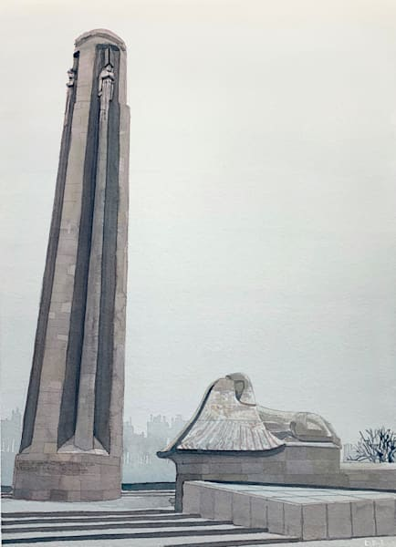 kansas-city, memorial, shinx, guardians, watercolor, art