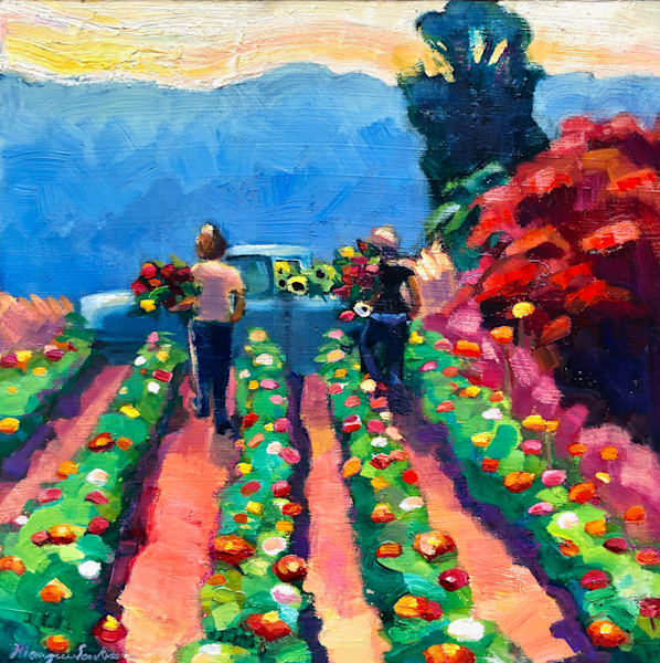 """Sunflowers and Zinnia Harvest"" plein air oil painting by Monique Sarkessian."