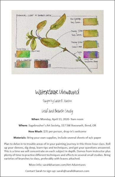 Watercolor Unwound   April 2020 | sbhansenart
