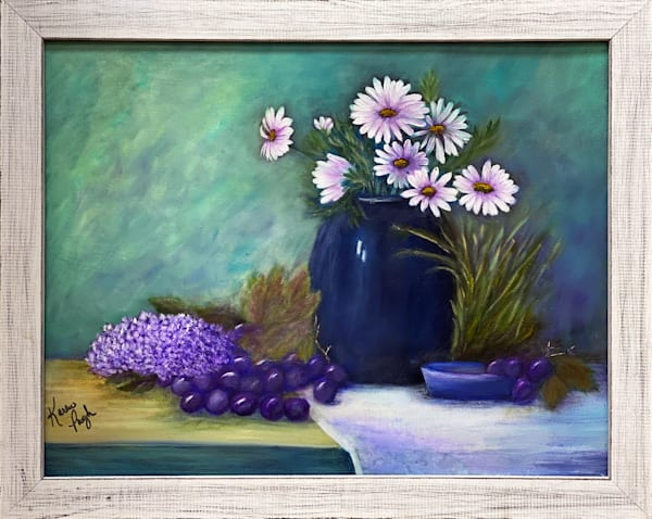 KPugh-Daisies-in-a-Blue Vase-framed