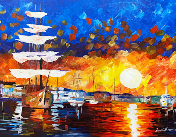 L Afremov   Sunset Sailer Art | Branson West Art Gallery - Mary Phillip