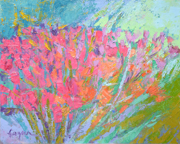 Coral Pink Tulips Original Oil Painting by Dorothy Fagan