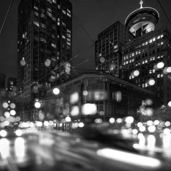 Gastown Lights B&W Art | James Alfred Friesen
