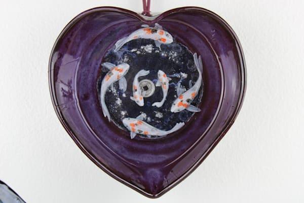 Handmade Purple Heart Shaped Ceramic Bowl With Hand Painted 3d 6 Koi Fish (Ready To Hang)  Art   errymilart