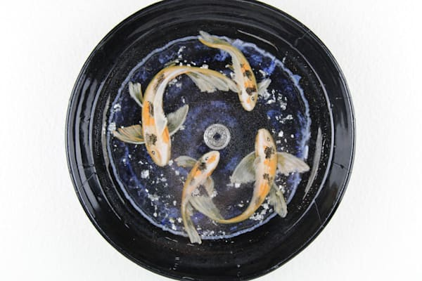 Handmade Ceramic Bowl With Hand Painted Butterfly Fish In Resin (Reeady To Hang) Art   errymilart