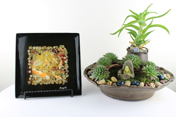 Mini Hand Painted Koi Pond In Square Plate Ceramic (Comes With Stand) Art   errymilart