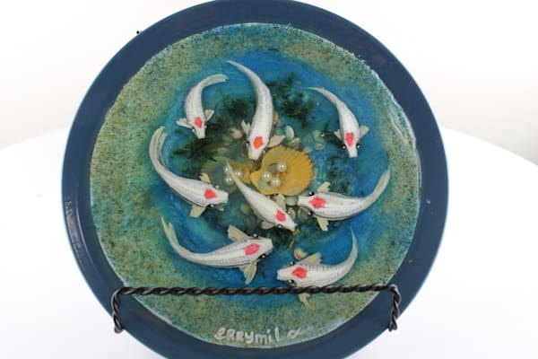 Koi Fish Family With Pearls ( Comes With Stand) Art   errymilart