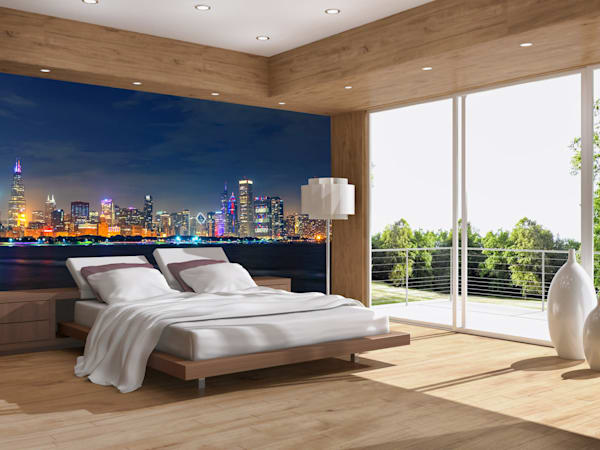 Chicago Skyline at Night on Independence Day - Skyline Wall Murals