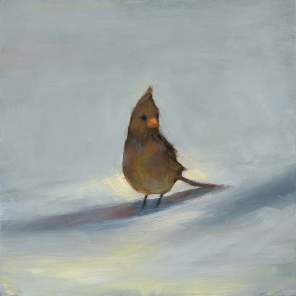 Limited edition fine art print of an oil painting of a female cardinal in the snow by Lisa Turchi Diebboll