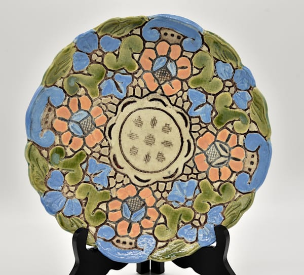 BHirsh - Blue Green and Coral Flower Dish