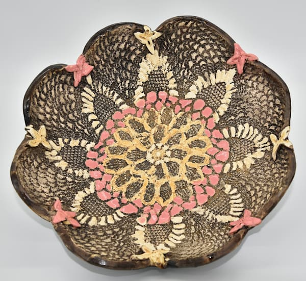 B Hirsh   Brown And Pink Bowl | Branson West Art Gallery - Mary Phillip
