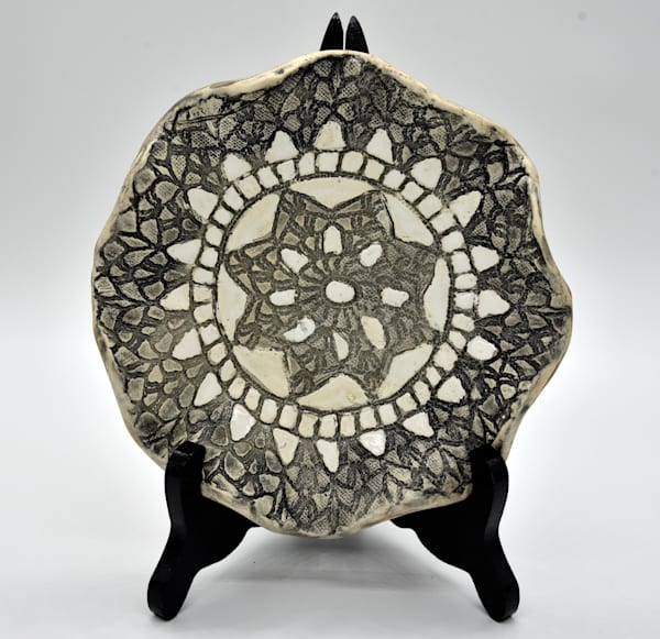 B Hirsh   Brown, Black And White Dish | Branson West Art Gallery - Mary Phillip