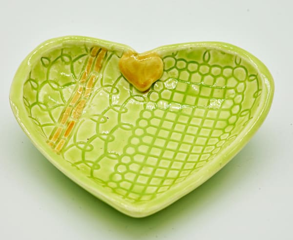 B Hirsh   Green Heart Dish | Branson West Art Gallery - Mary Phillip