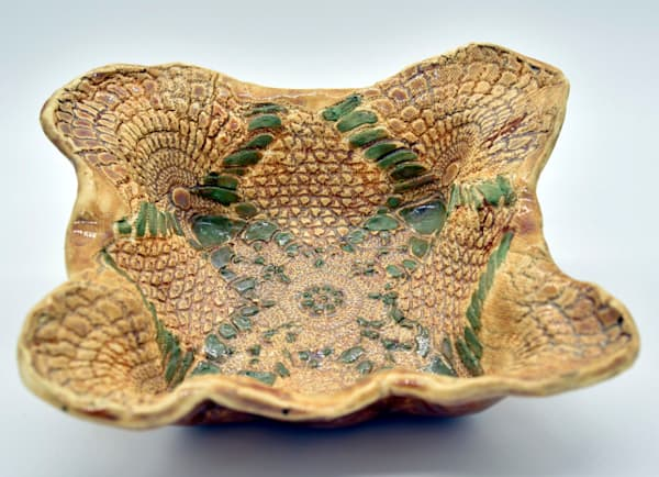 B Hirsh   Brown Square Bowl With Green Trim | Branson West Art Gallery - Mary Phillip