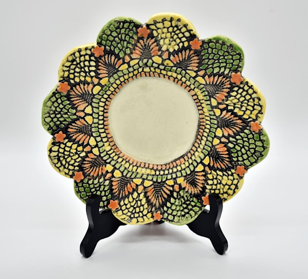 B Hirsh   Green, Yellow And Orange Dish   Sold! | Branson West Art Gallery - Mary Phillip