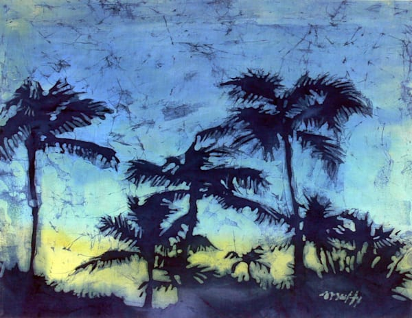 Palm Sketch 4 is an original batik painting on cotton by artist Muffy Clark Gill.