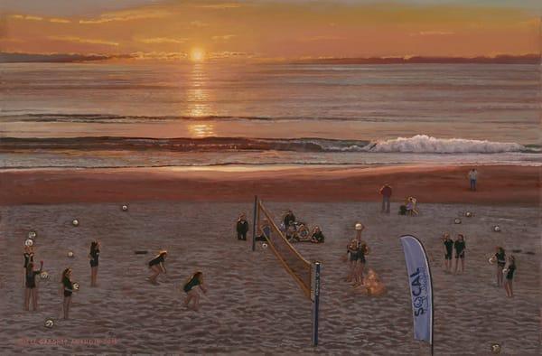 So Cal Sunset Beach Volleyball Art | The Huntington Studio