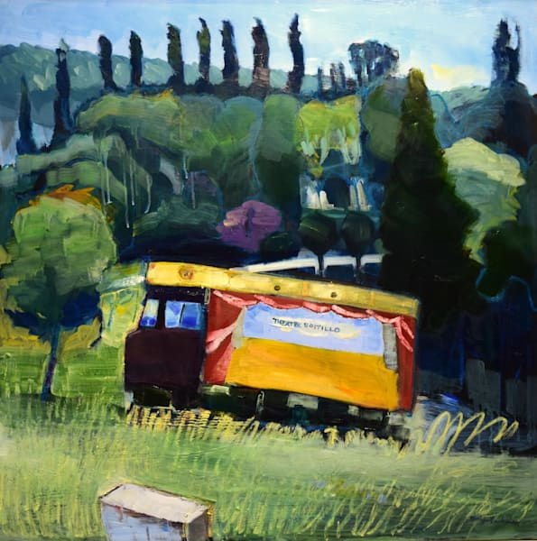 Plein air oil painting of France Provence theatre Boitlillo truck
