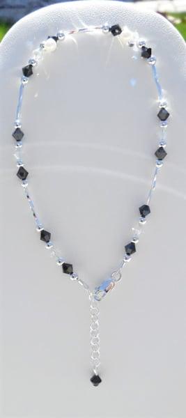 K Thierstein   Stylish 8 Inch Anklet   Jet Black And Swarovski Crystals | Branson West Art Gallery - Mary Phillip