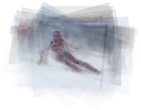 Overlay art – contemporary fine art prints of a skier for sale.