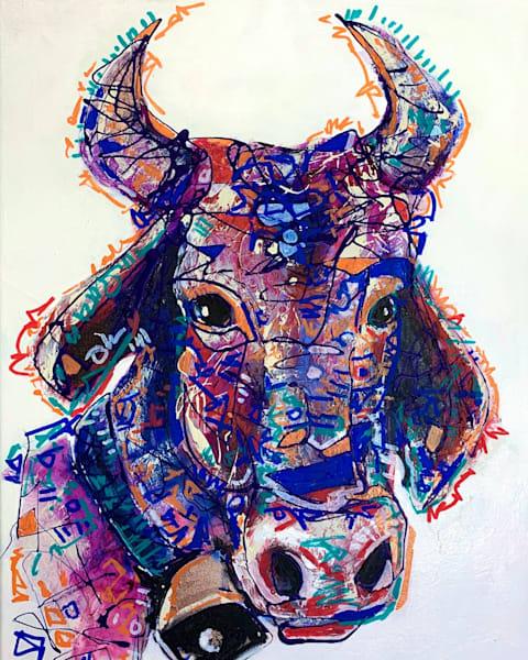 Clara The Cow Art by Kristyn Watterworth