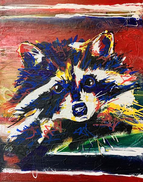 Ronan The Raccoon Art by Kristyn Watterworth