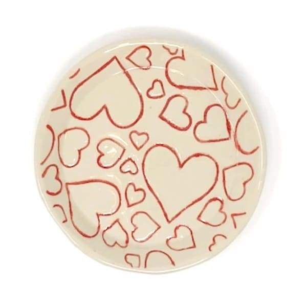 Small Round Plate Red Hearts on White Stoneware Clay