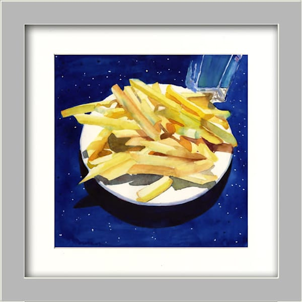 Salted Diner Fries Art | Machalarts Watercolor Studio