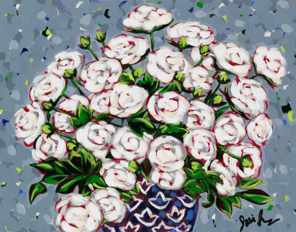 White Roses is a portrait of smiling roses in a blue vase.