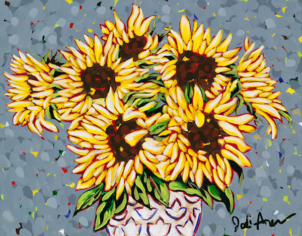 Original painting of wild sunflowers in a white vase by Jodi Augustine.