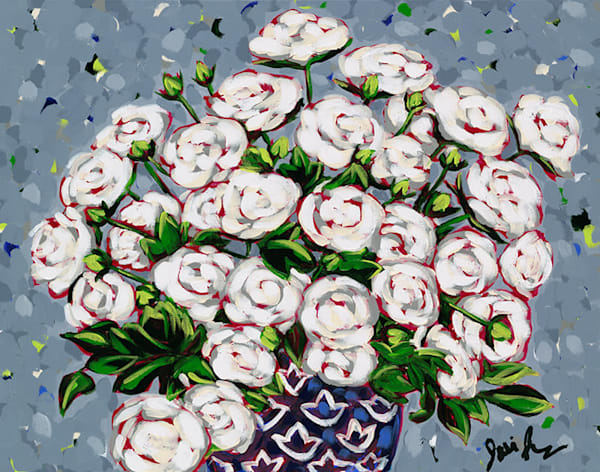 Smiling white roses in a vase by Jodi Augustine.