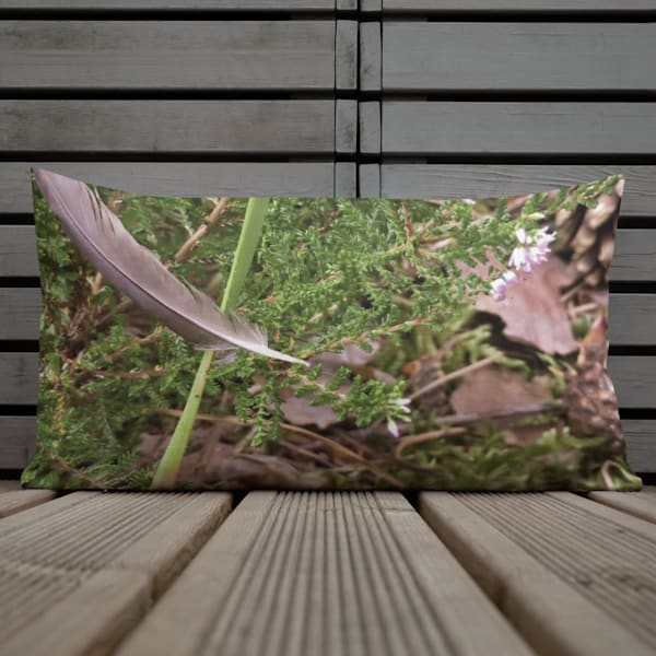 """""""Still Life With Floating Feather"""" Throw Pillow"""