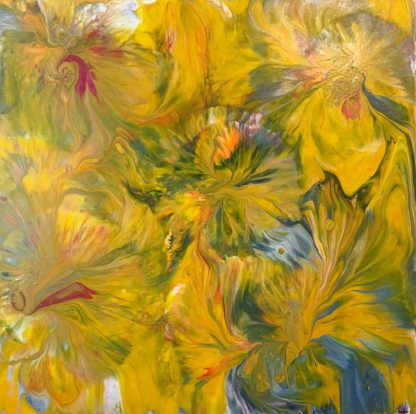 flowers, blooms, yellow, green, red