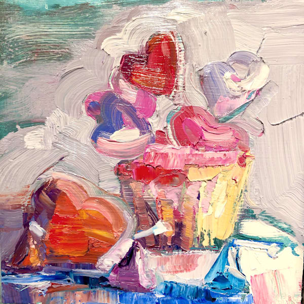 "Sweet 4"" Still Life with Pink Cupcake Heart Macaronand Hershey Kisses. Original fine art paintings  by Monique Sarkessian"