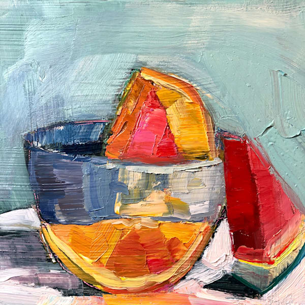 "Striking ""Still Life With Watermelon and Orange Wedges"" oil painting by Monique Sarkessian."