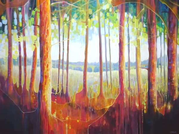 large oil painting of a view through the trees of the Ashdown Forest in Sussex to the heath land and fields beyond