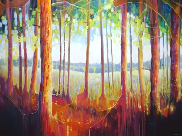 wall art and prints on canvas or paper of a view through the trees of the Ashdown Forest in Sussex to the heath land and fields beyond