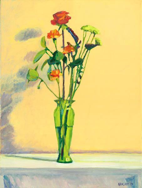 """Green Vase on Cream"" fine art print by Karl Kralapp."