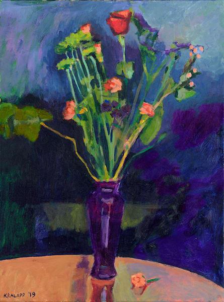 """Purple Vase on Dark Blue"" fine art print by Karl Kralapp."