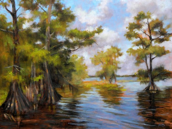 Blue Cypress Afternoon, From an Original Oil Painting