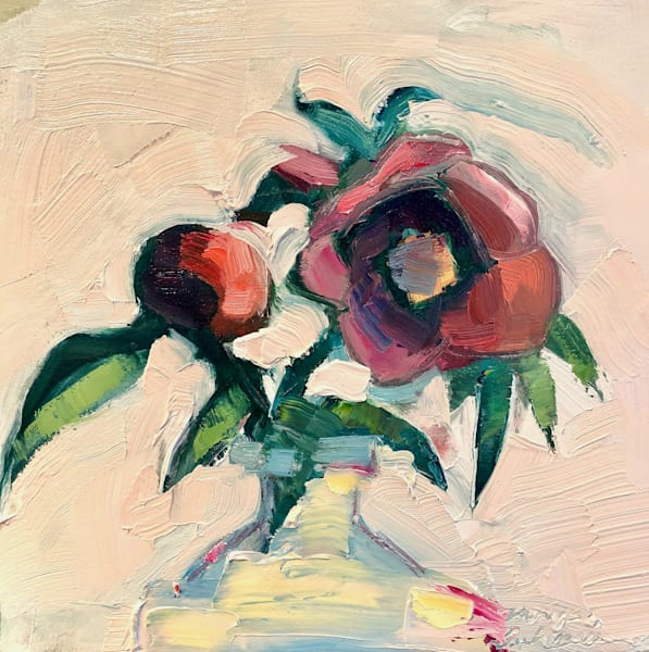 """Still Life With Hellebores and Red Camellia "" is and oil painting by expressionist painter Monique Sarkessian."