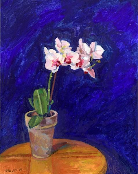 """Orchids on Blue"" fine art print by Karl Kralapp."
