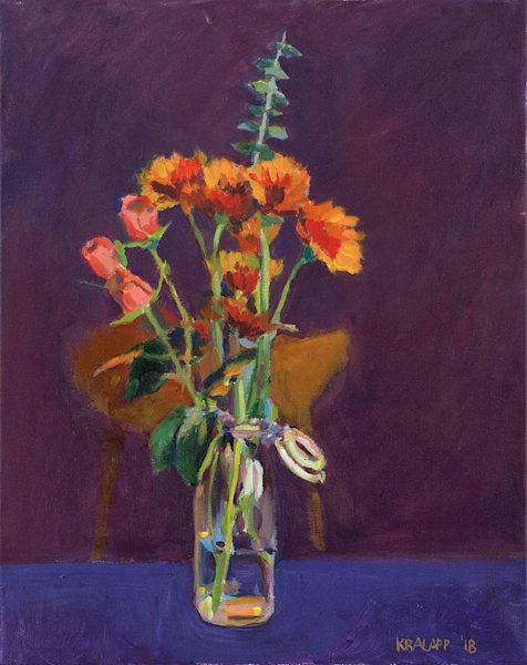 """Bouquet on Blue and Purple"" fine art print by Karl Kralapp."